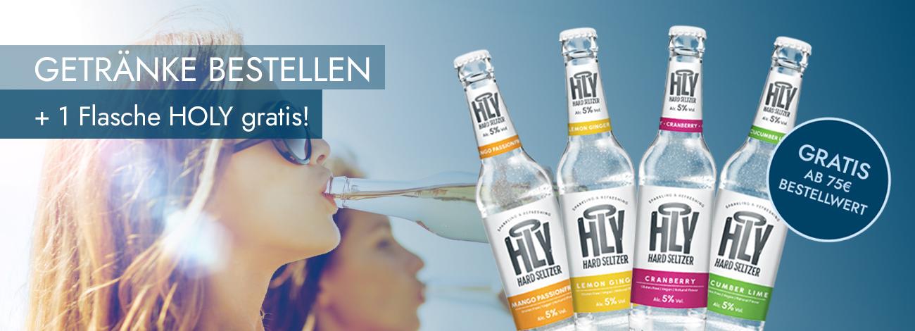Gratis Flasche HOLY Hard Seltzer bei HoffmannBringts